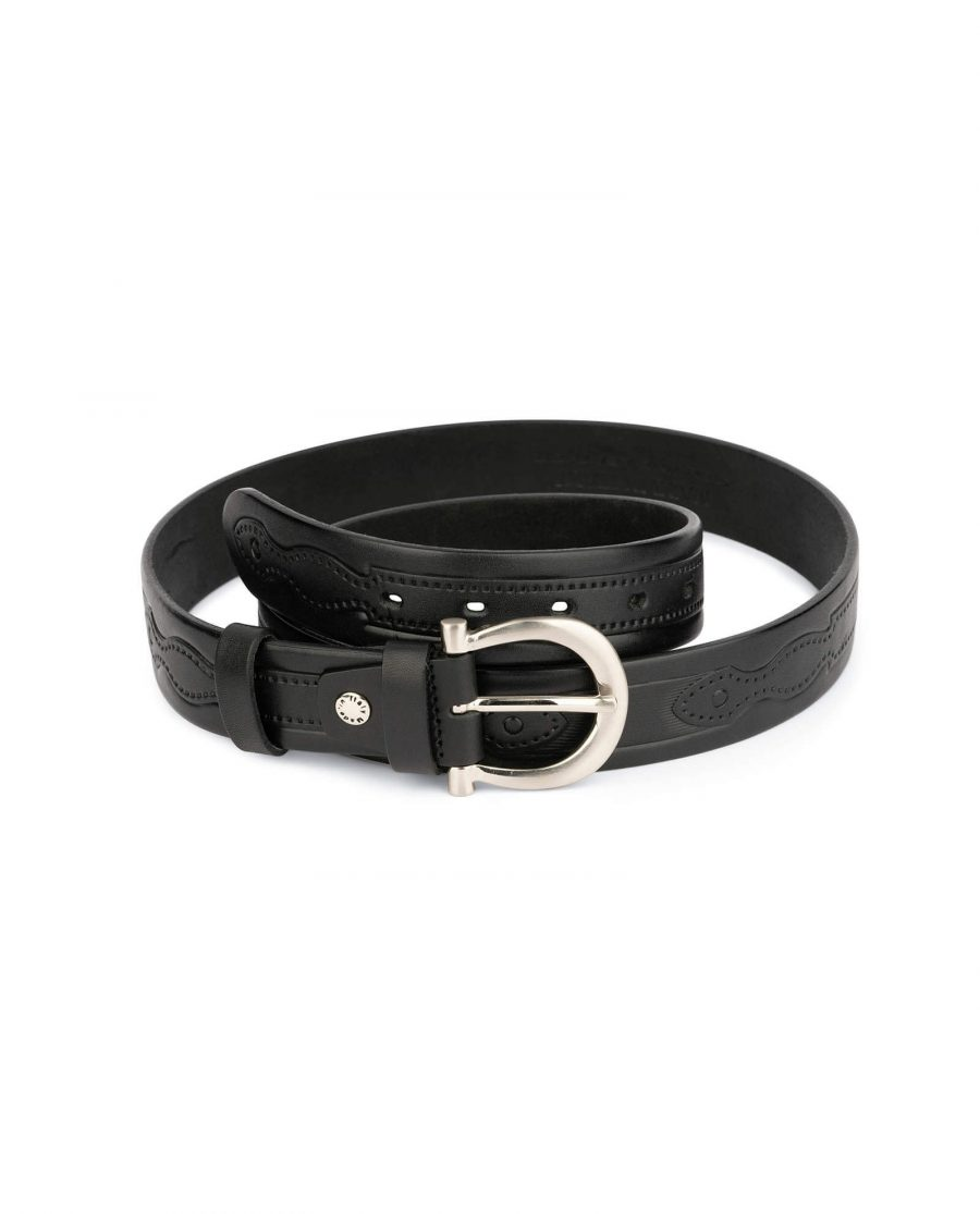 womens embossed leather belt with horse shoe buckle 1