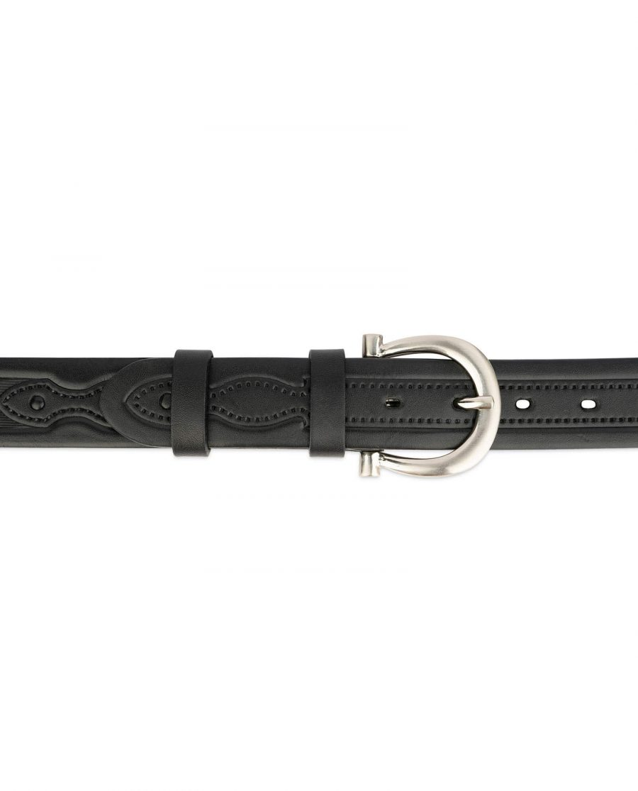 womens embossed leather belt with horse shoe buckle 3