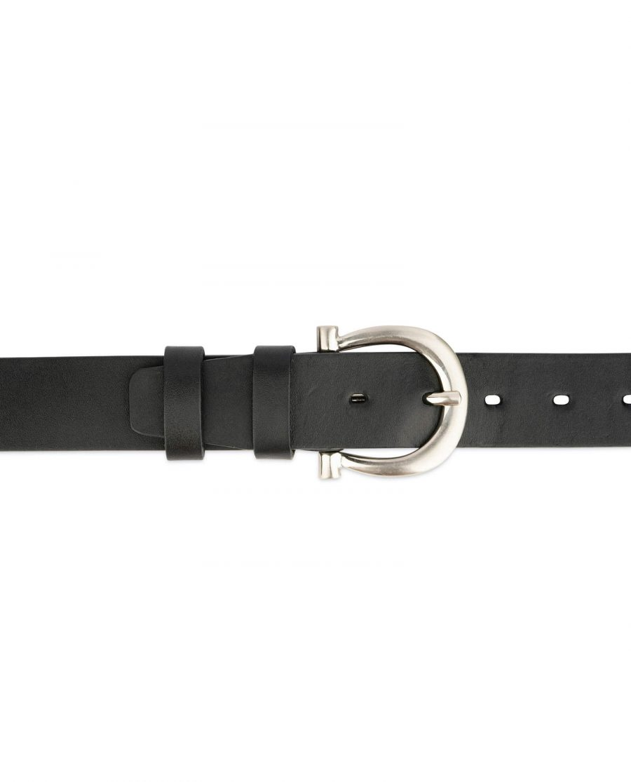 womens full grain leather belt with silver buckle 3