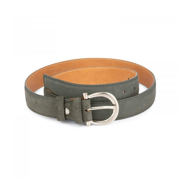 womens gray belt suede leather with italian buckle 2