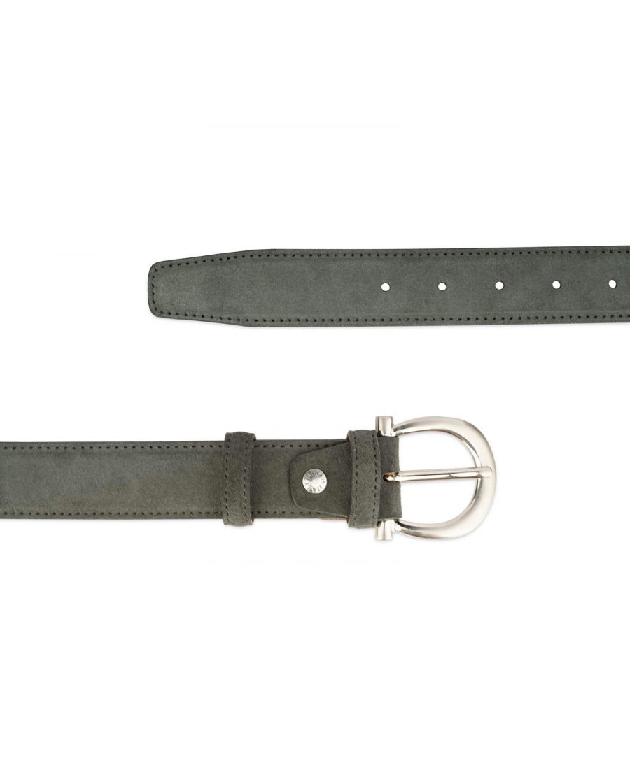womens gray belt suede leather with italian buckle 3