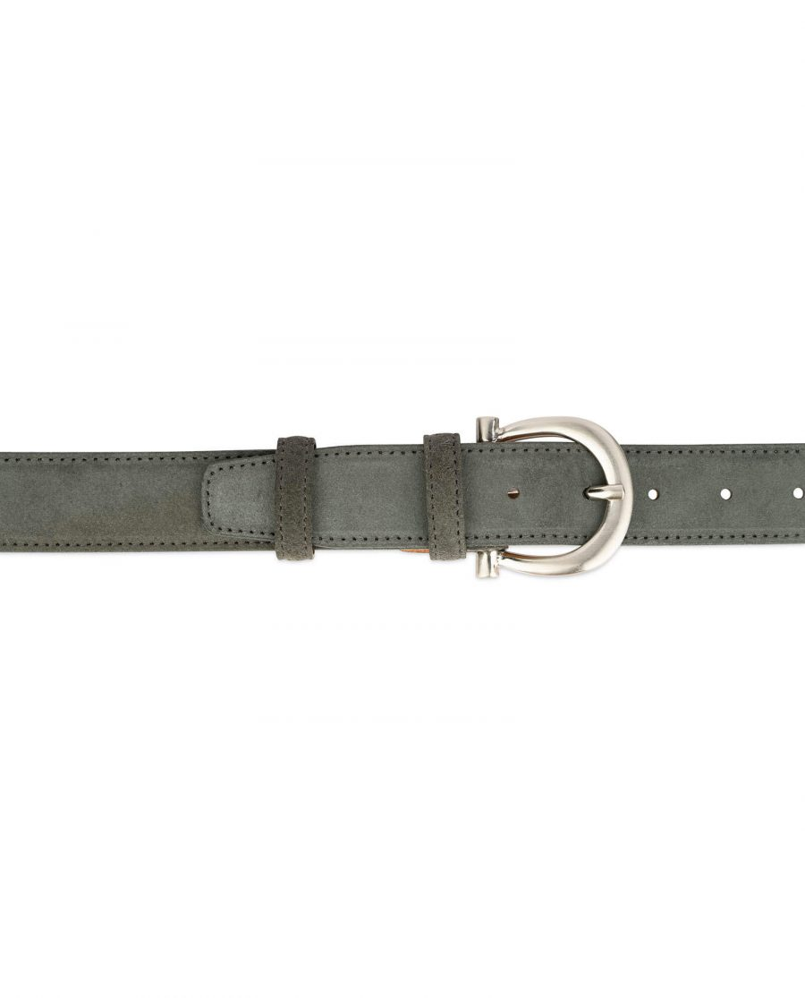 womens gray belt suede leather with italian buckle 4