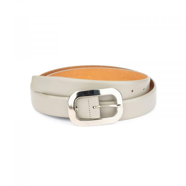 womens gray belt with nickel silver buckle 1