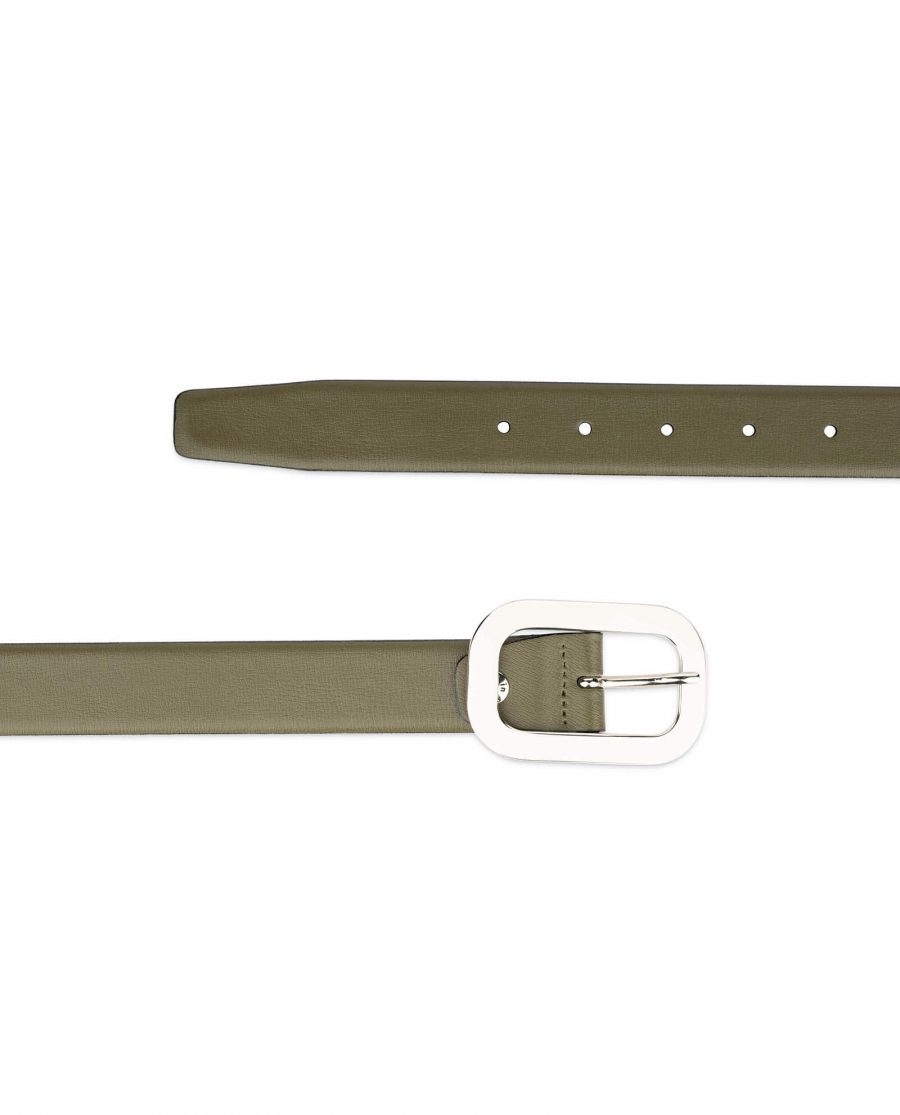 womens green belt with silver buckle 1