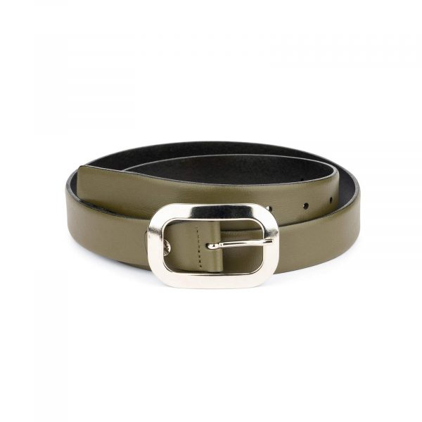 womens green belt with silver buckle 2