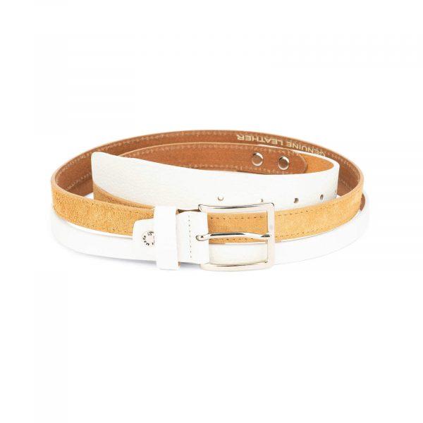 womens multi color belt beige white 2