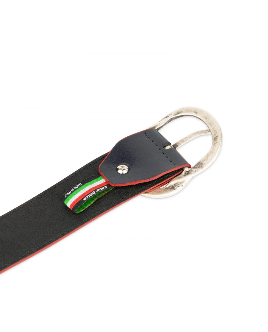 womens navy belt with red edges 1