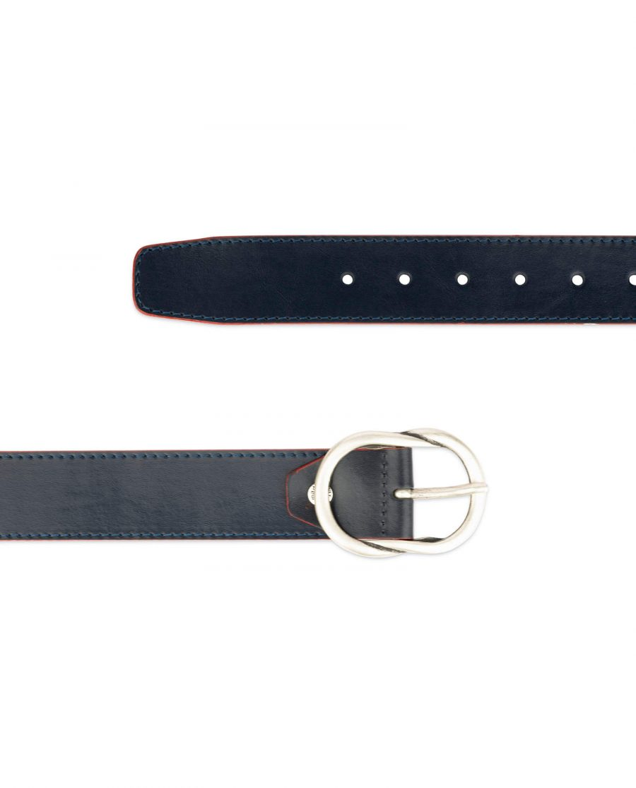 womens navy belt with red edges 3