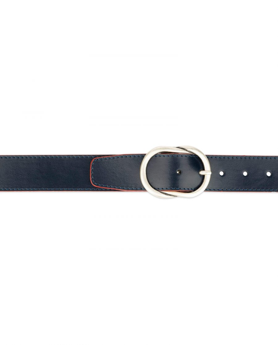 womens navy belt with red edges 4