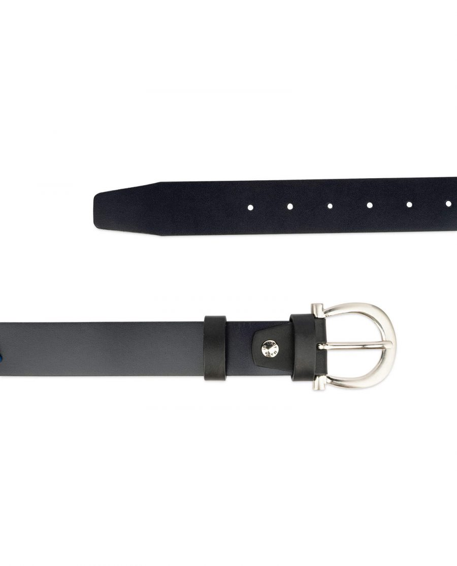womens navy blue belt with horse shoe buckle 2