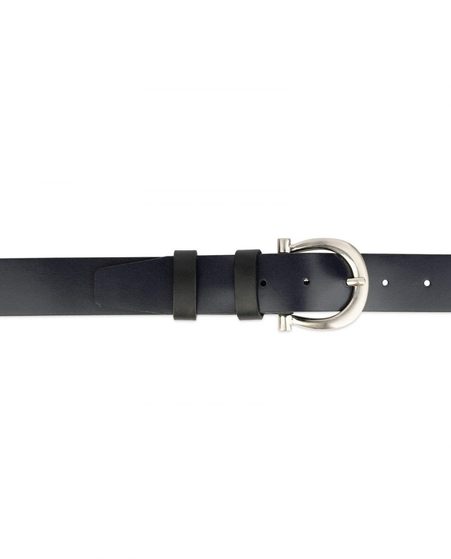 womens navy blue belt with horse shoe buckle 3