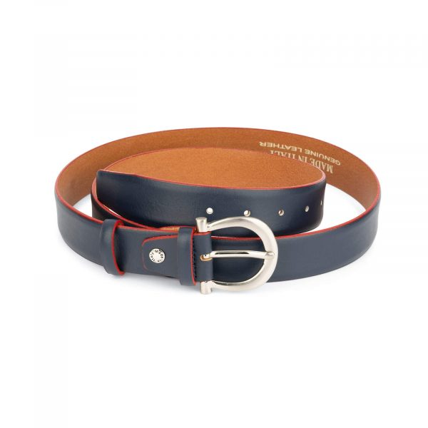 womens navy blue leather belt with red edges 1