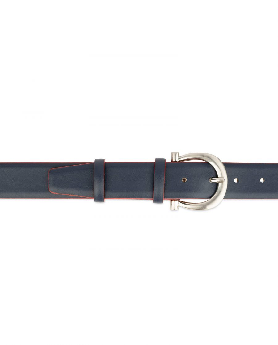 womens navy blue leather belt with red edges 3