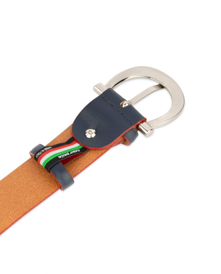 womens navy blue leather belt with red edges 4