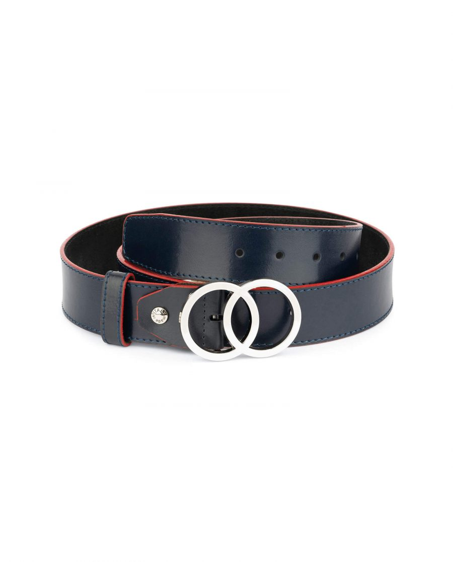 womens navy blue two circle buckle belt 2