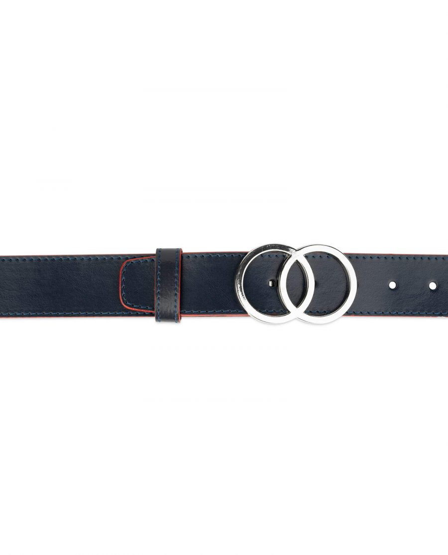womens navy blue two circle buckle belt 3