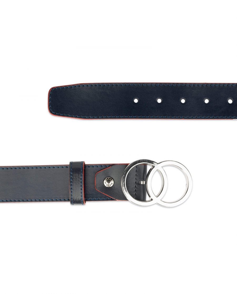 womens navy blue two circle buckle belt 4