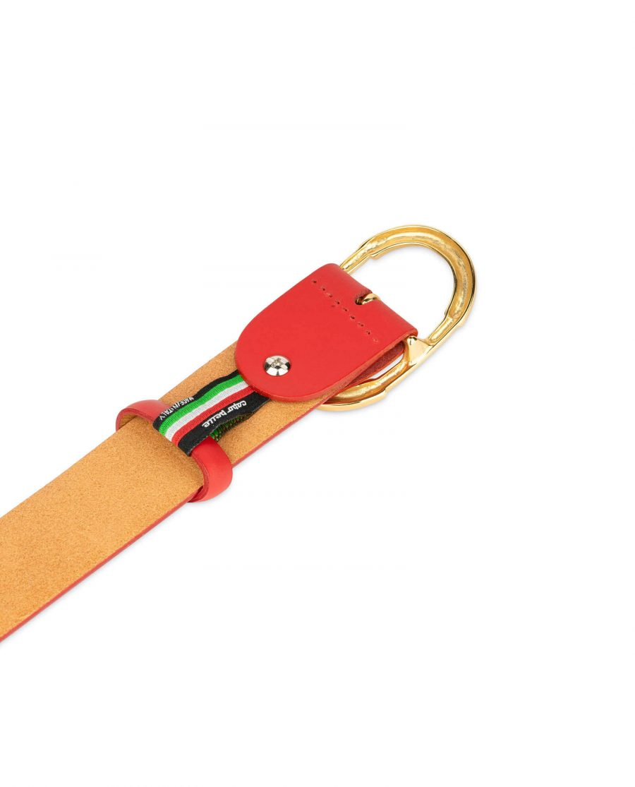womens red leather belt with gold buckle 1
