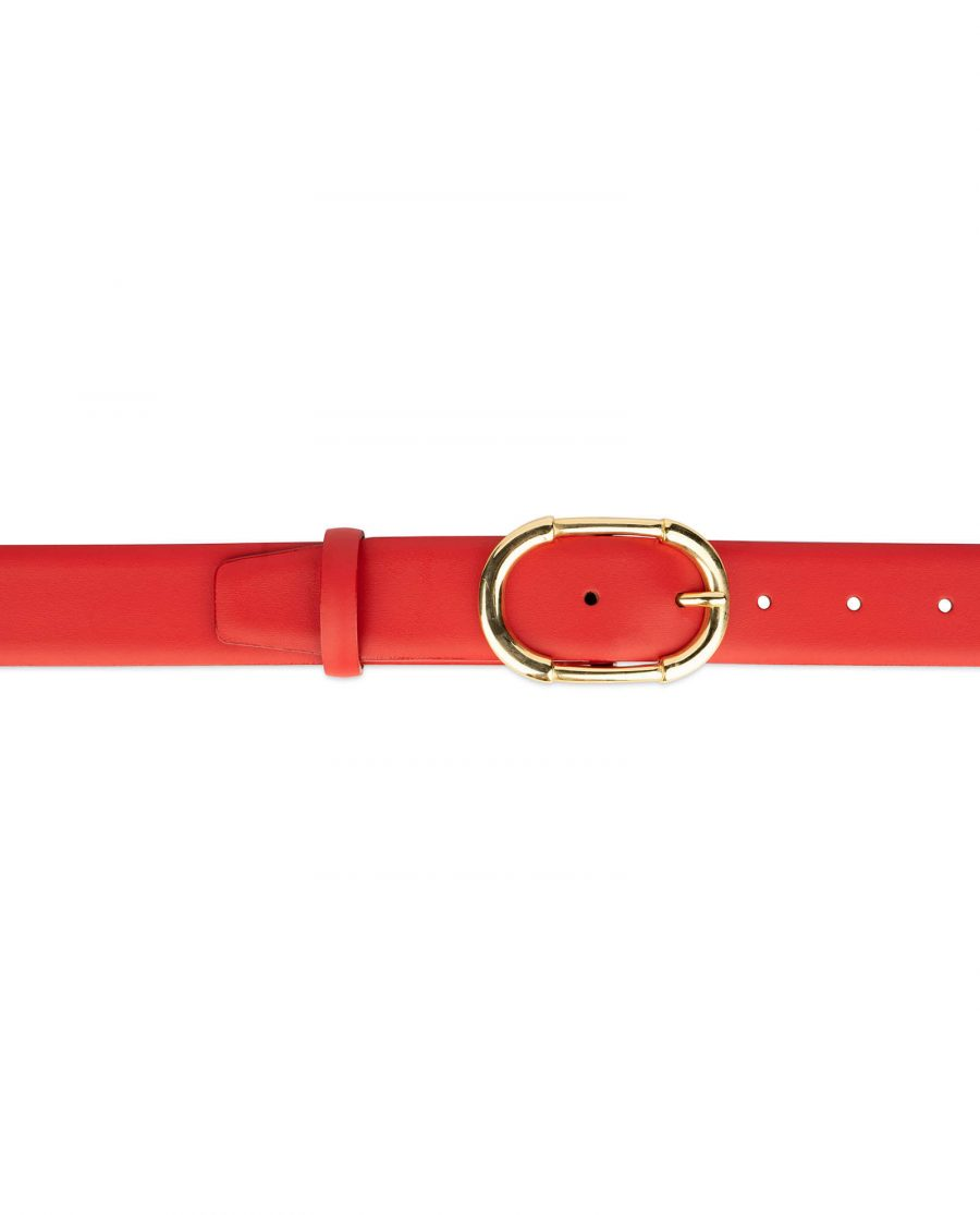 womens red leather belt with gold buckle 4