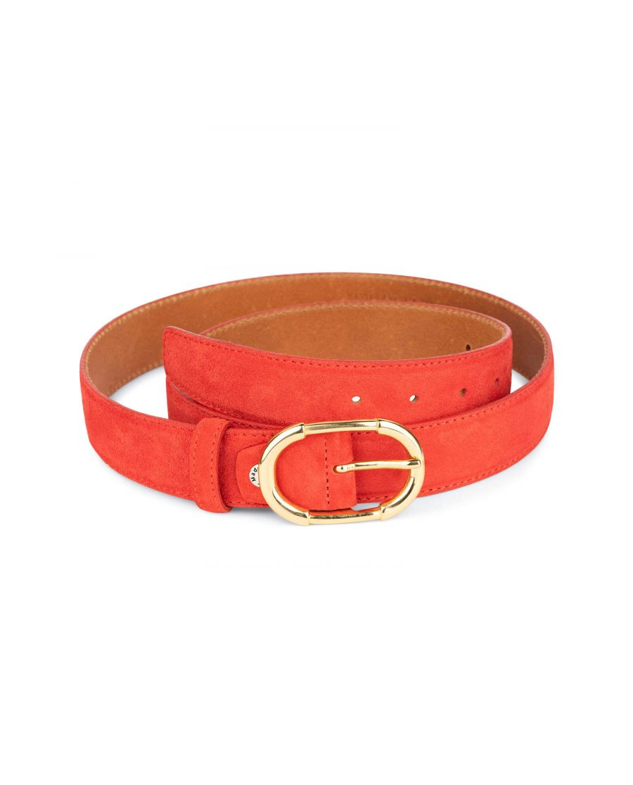 womens red leather belt with gold buckle 5