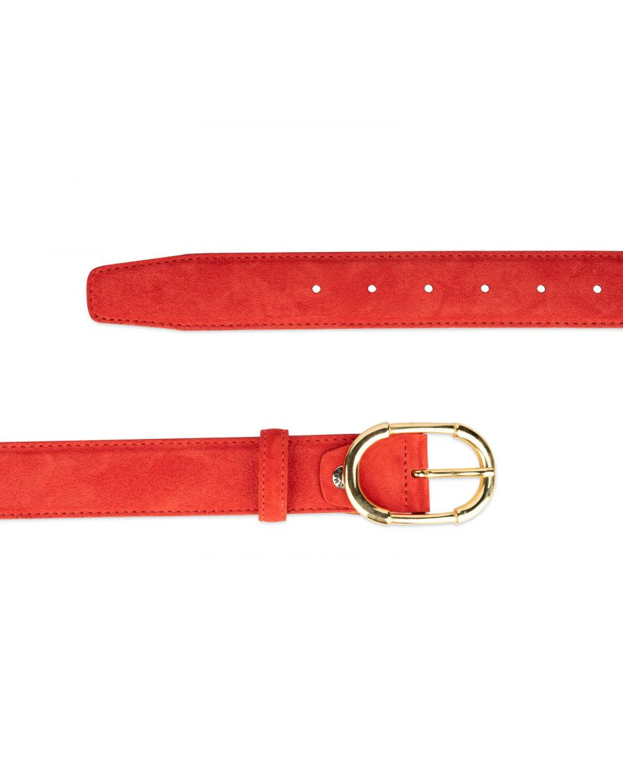 womens red leather belt with gold buckle 6