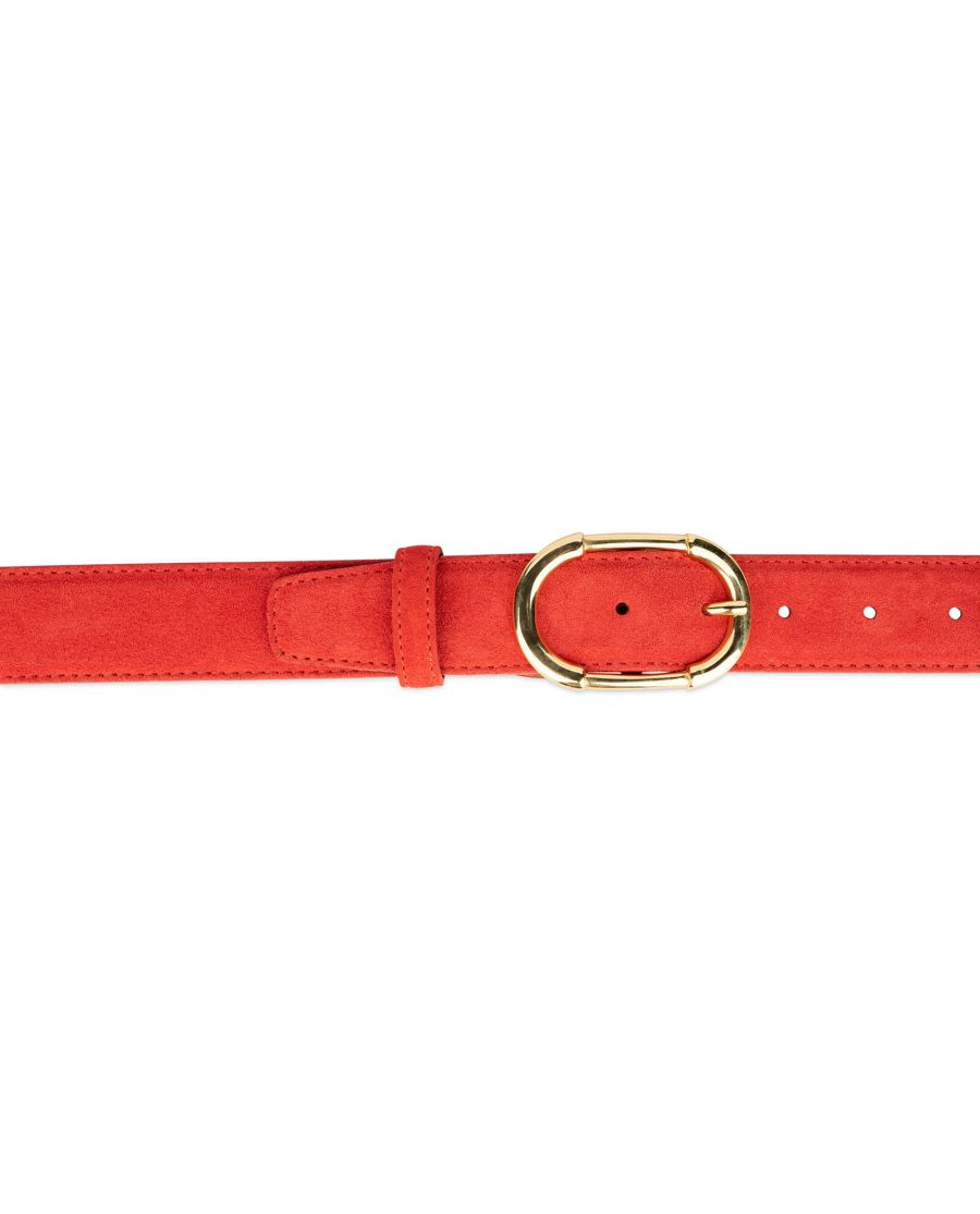 womens red leather belt with gold buckle 7