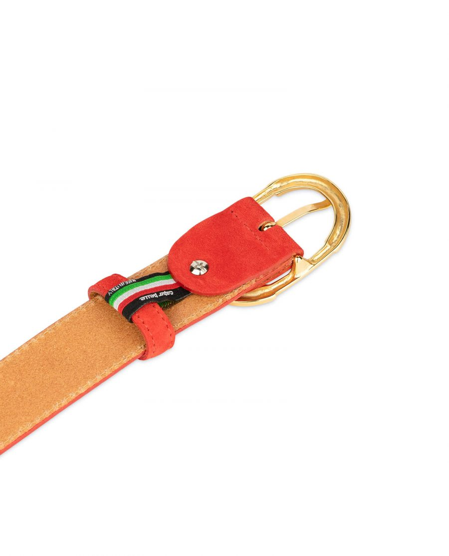 womens red leather belt with gold buckle 8
