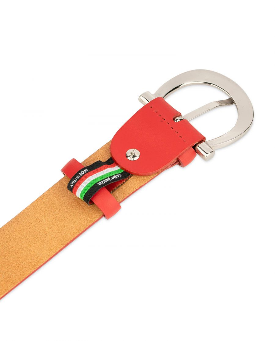 womens red leather belt with italian buckle 1 1