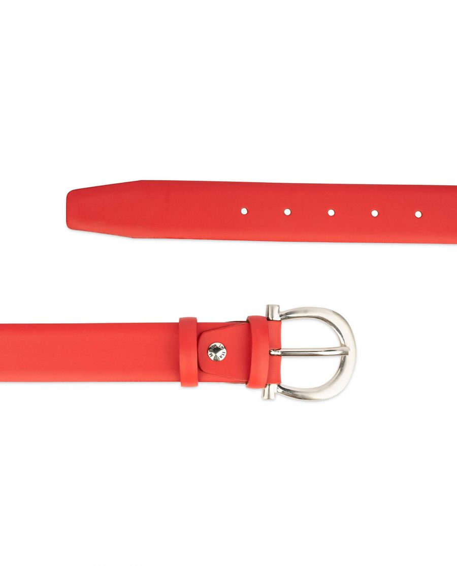 womens red leather belt with italian buckle 3 1