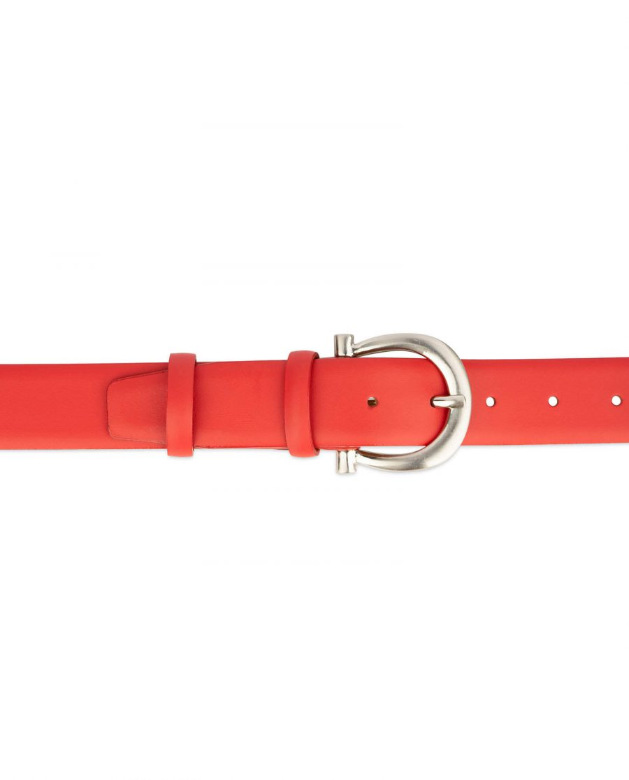 womens red leather belt with italian buckle 4 1