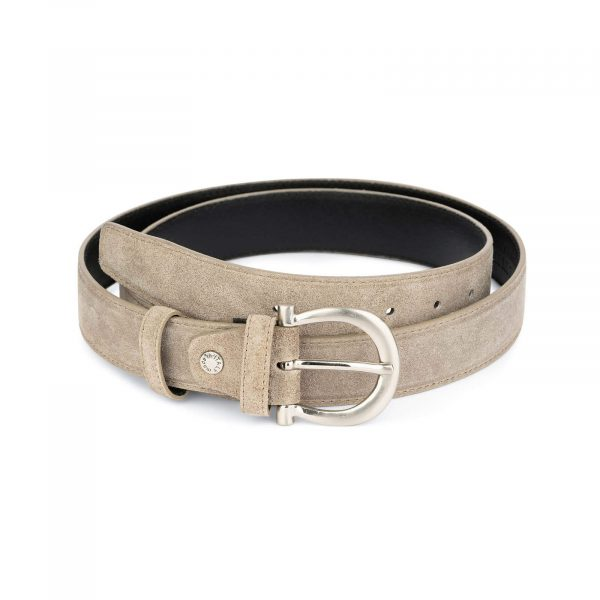 womens taupe belt with italian buckle 2