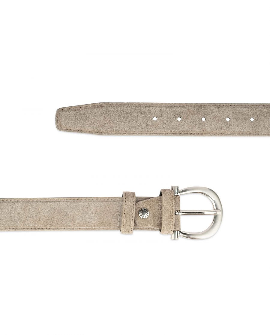womens taupe belt with italian buckle 3
