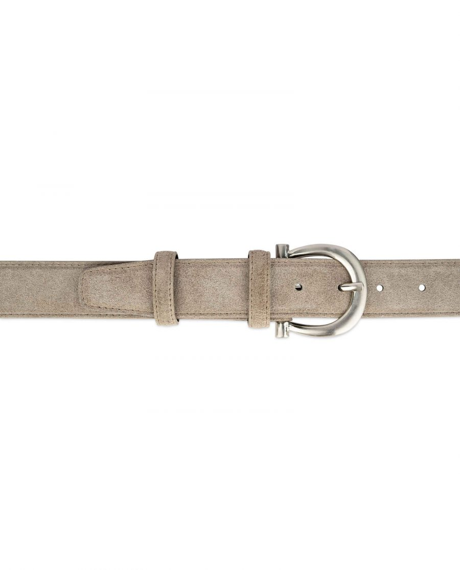 womens taupe belt with italian buckle 4