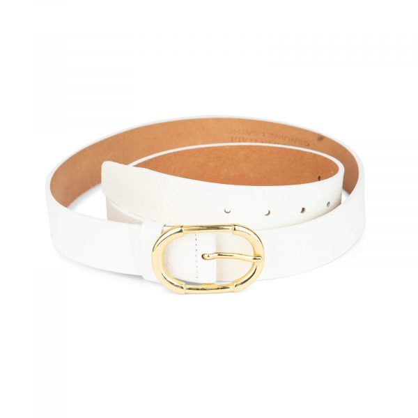womens white belt with gold buckle 1