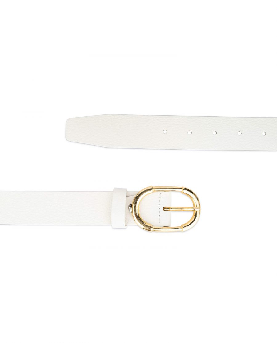 womens white belt with gold buckle 2