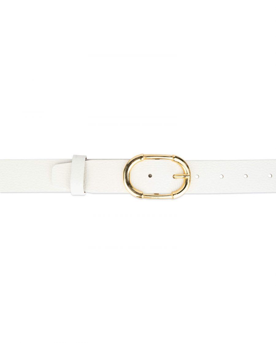 womens white belt with gold buckle 3