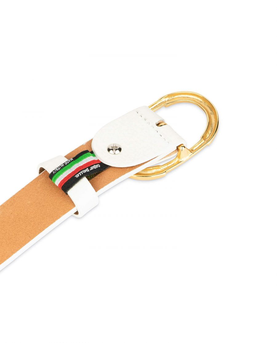 womens white belt with gold buckle 4