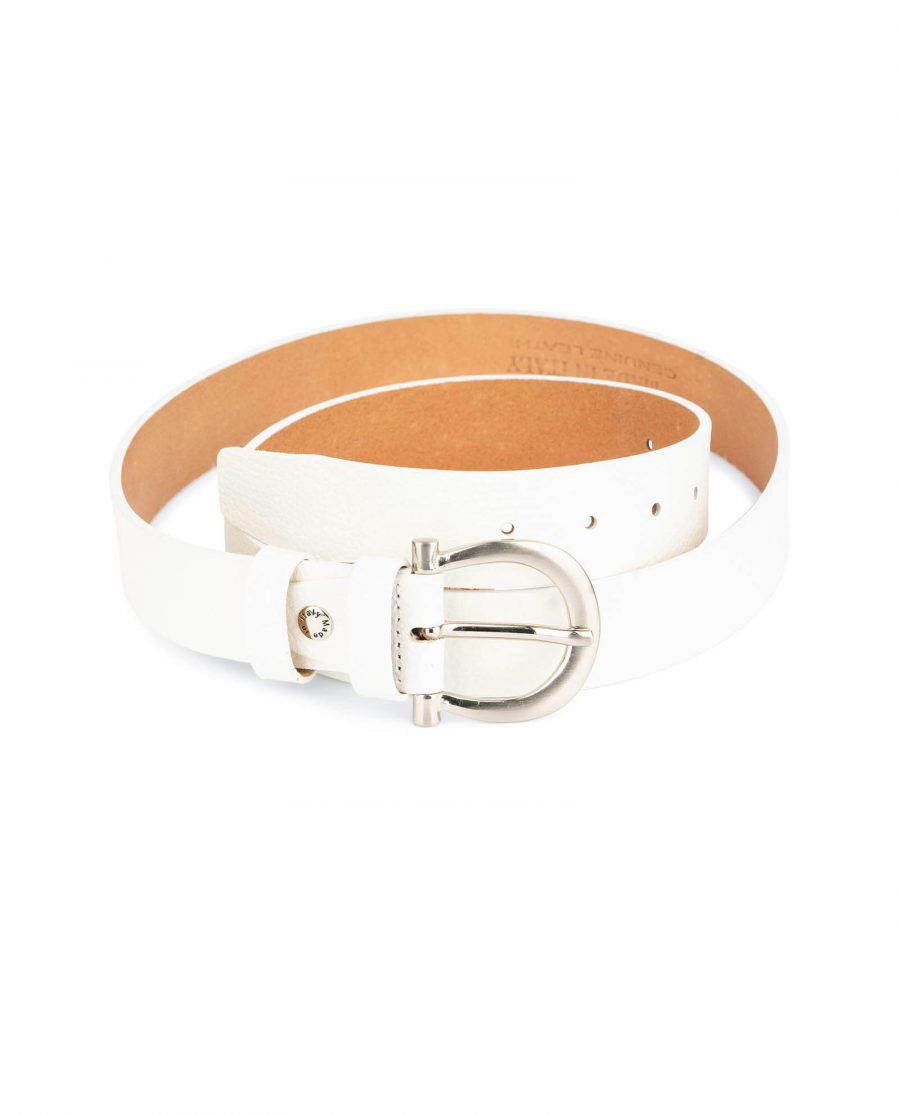 womens white leather belt with silver buckle 1