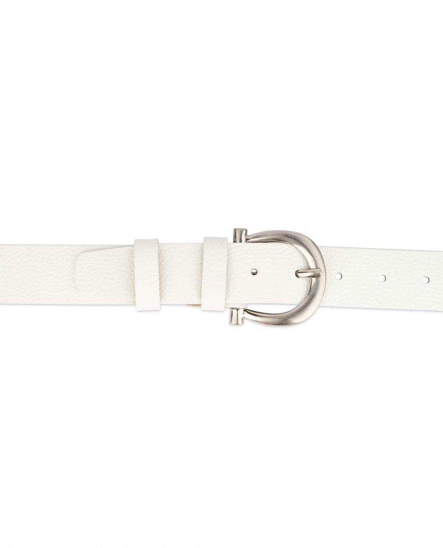 womens white leather belt with silver buckle 3
