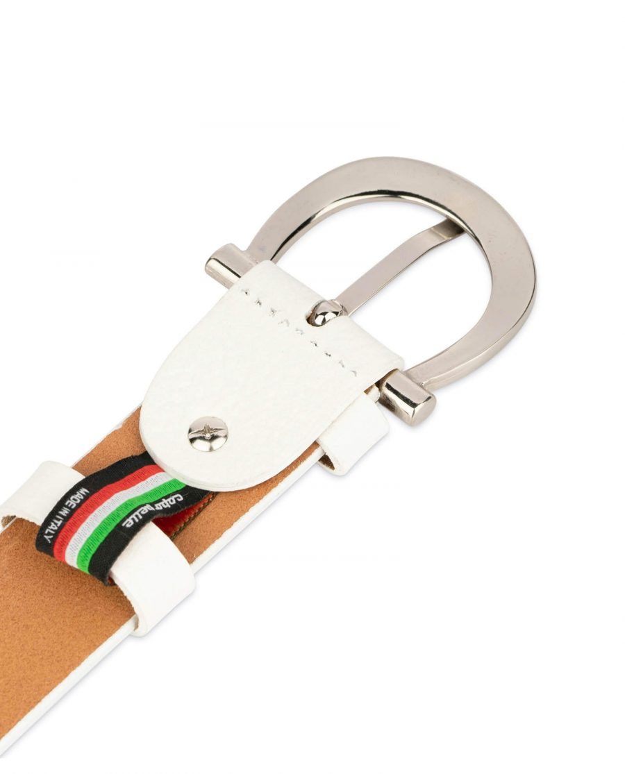 womens white leather belt with silver buckle 4