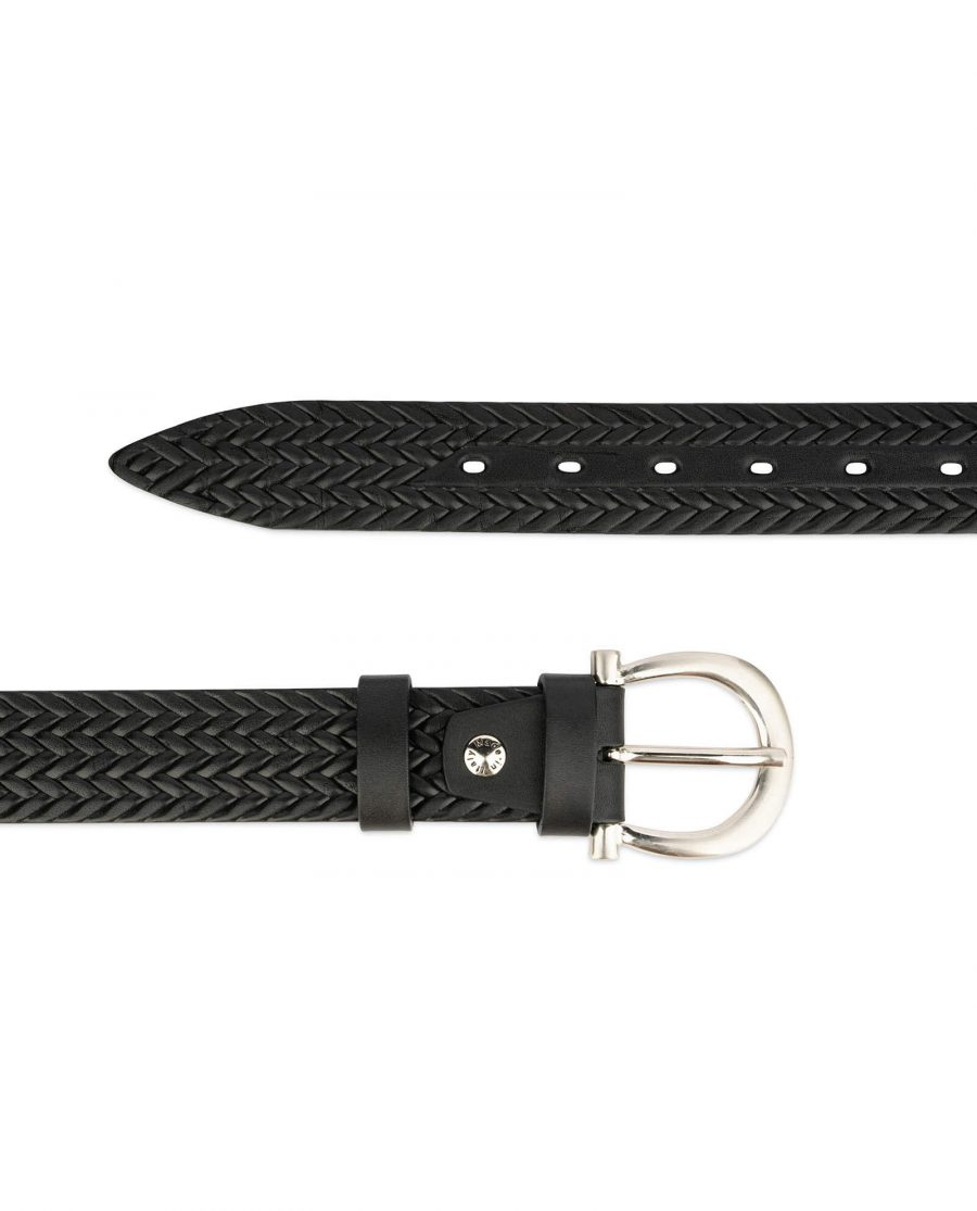 womens woven belt real embossed leather 2