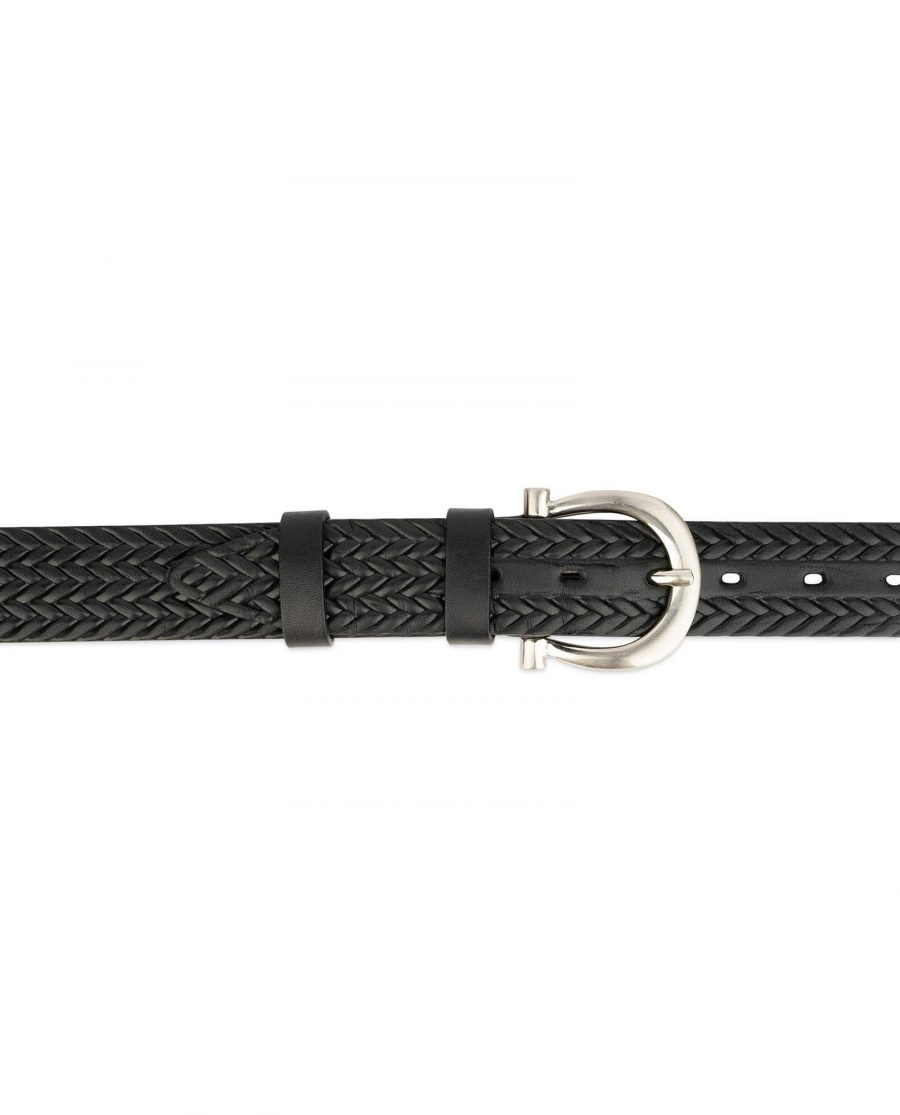 womens woven belt real embossed leather 3