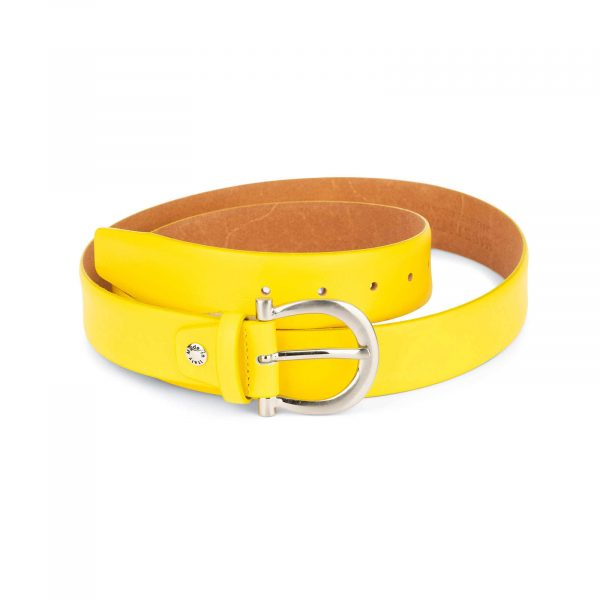 womens yellow belt with silver buckle 1