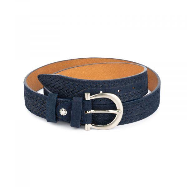 woven womens blue suede belt 1
