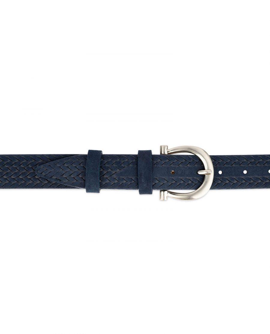 woven womens blue suede belt 3