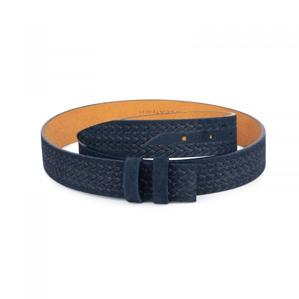blue suede embossed leather belt strap 1