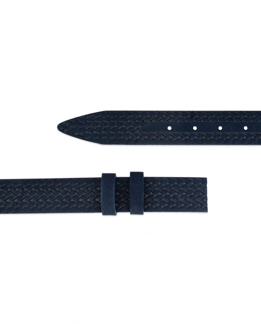 blue suede embossed leather belt strap 2