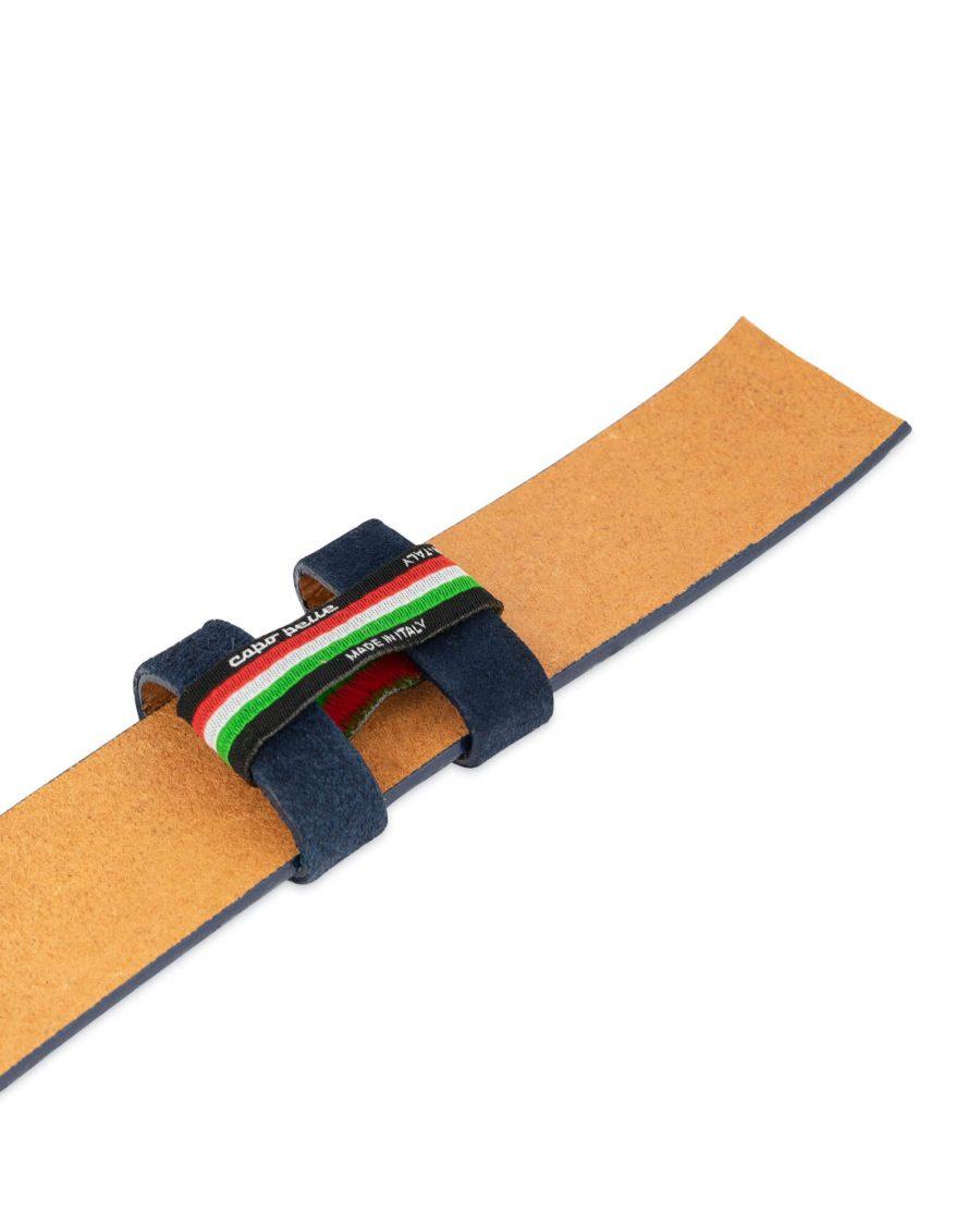 blue suede embossed leather belt strap 3