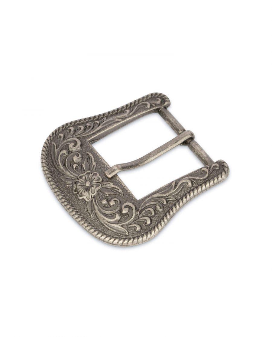 cowboy buckle antique silver metal 2