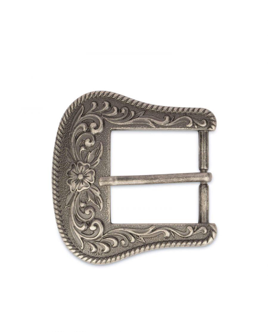 cowboy buckle antique silver metal 4